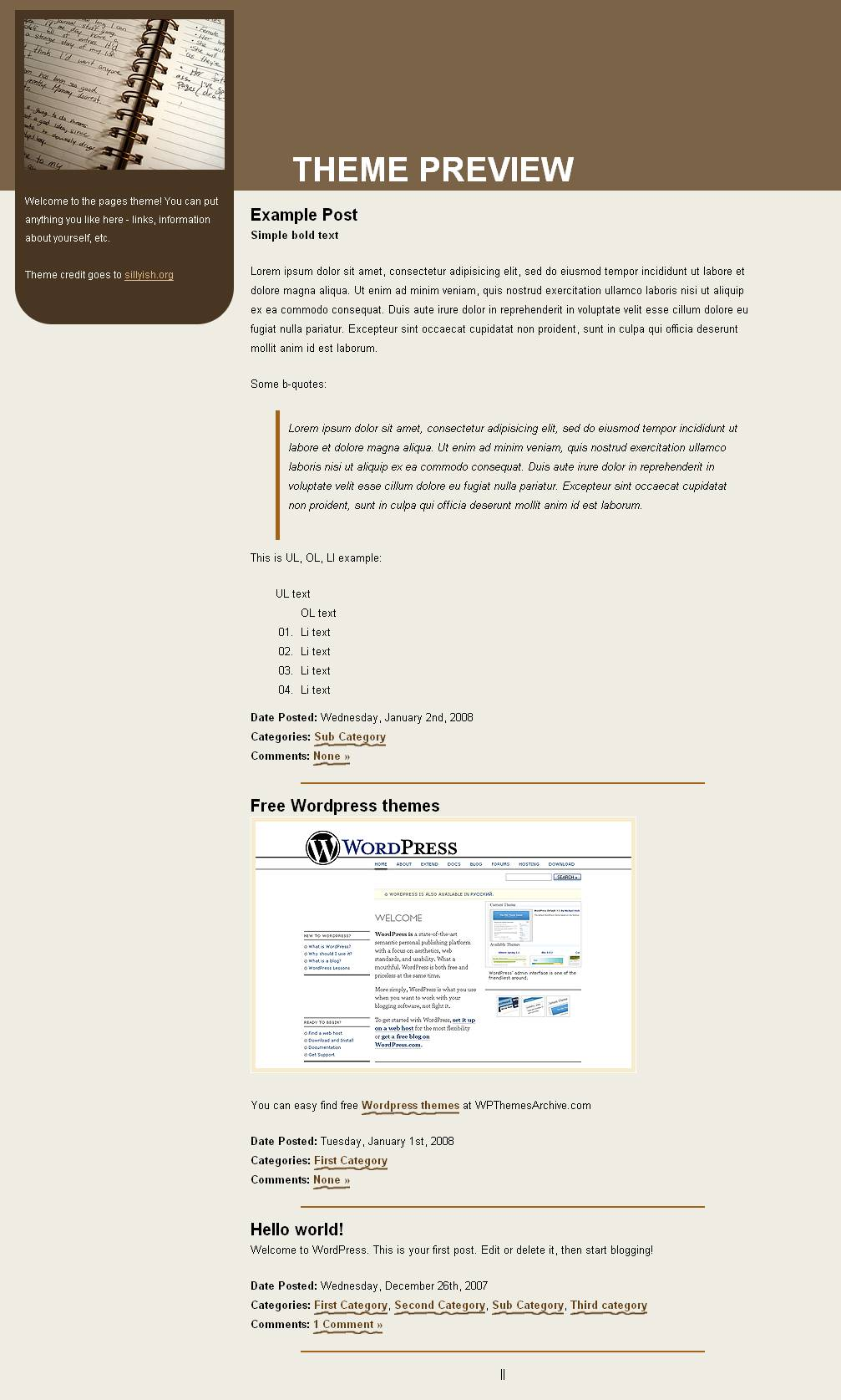 download Online Pages theme