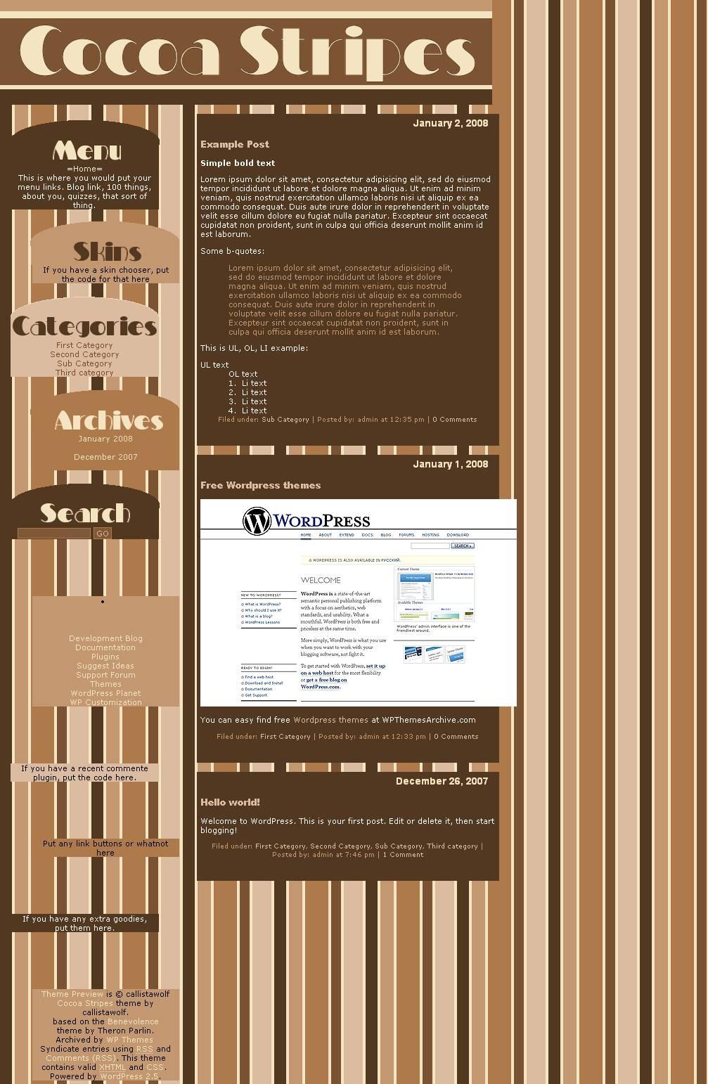 download Cocoa Stripes theme