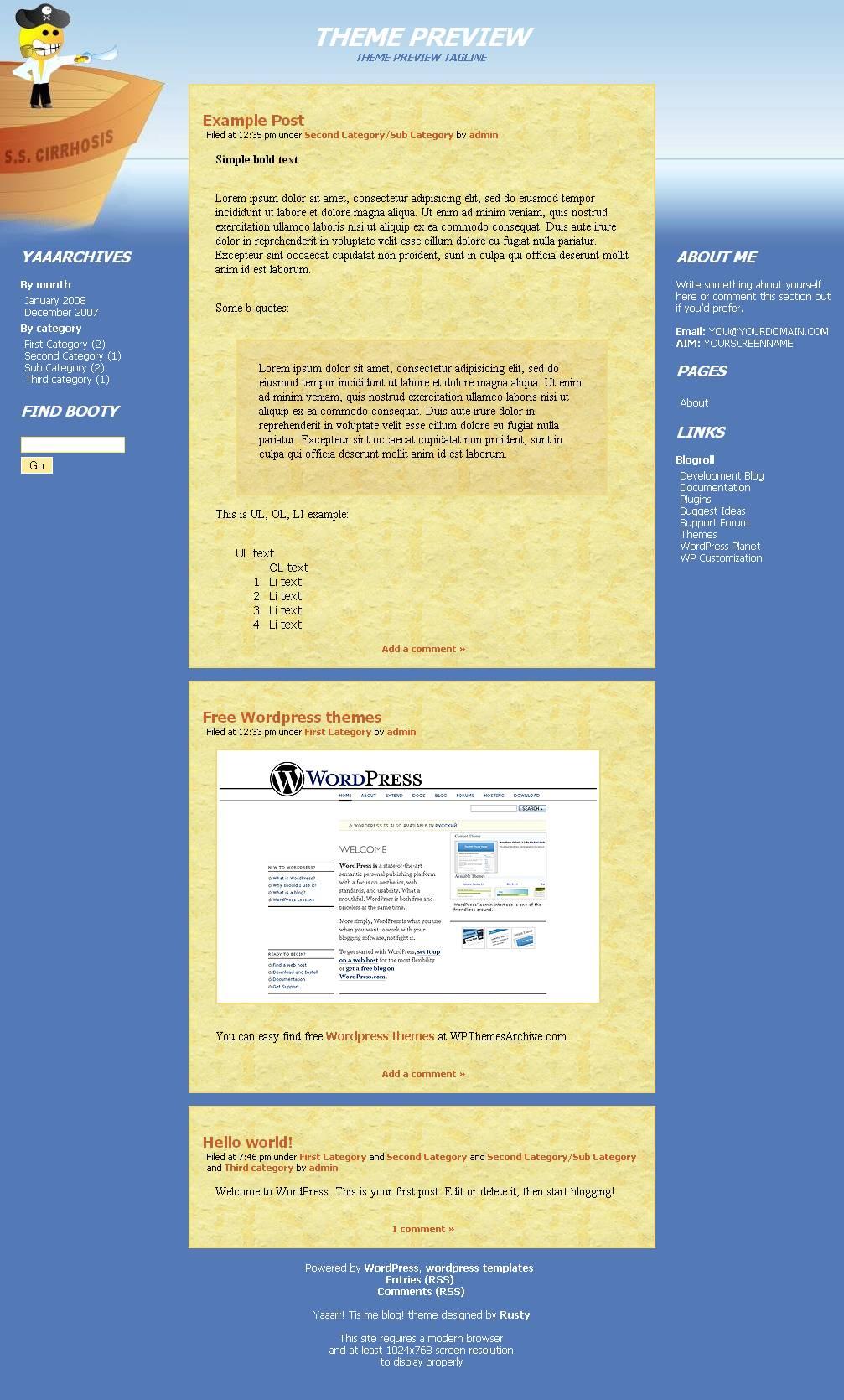 download Yaaarr! Tis me blog! theme