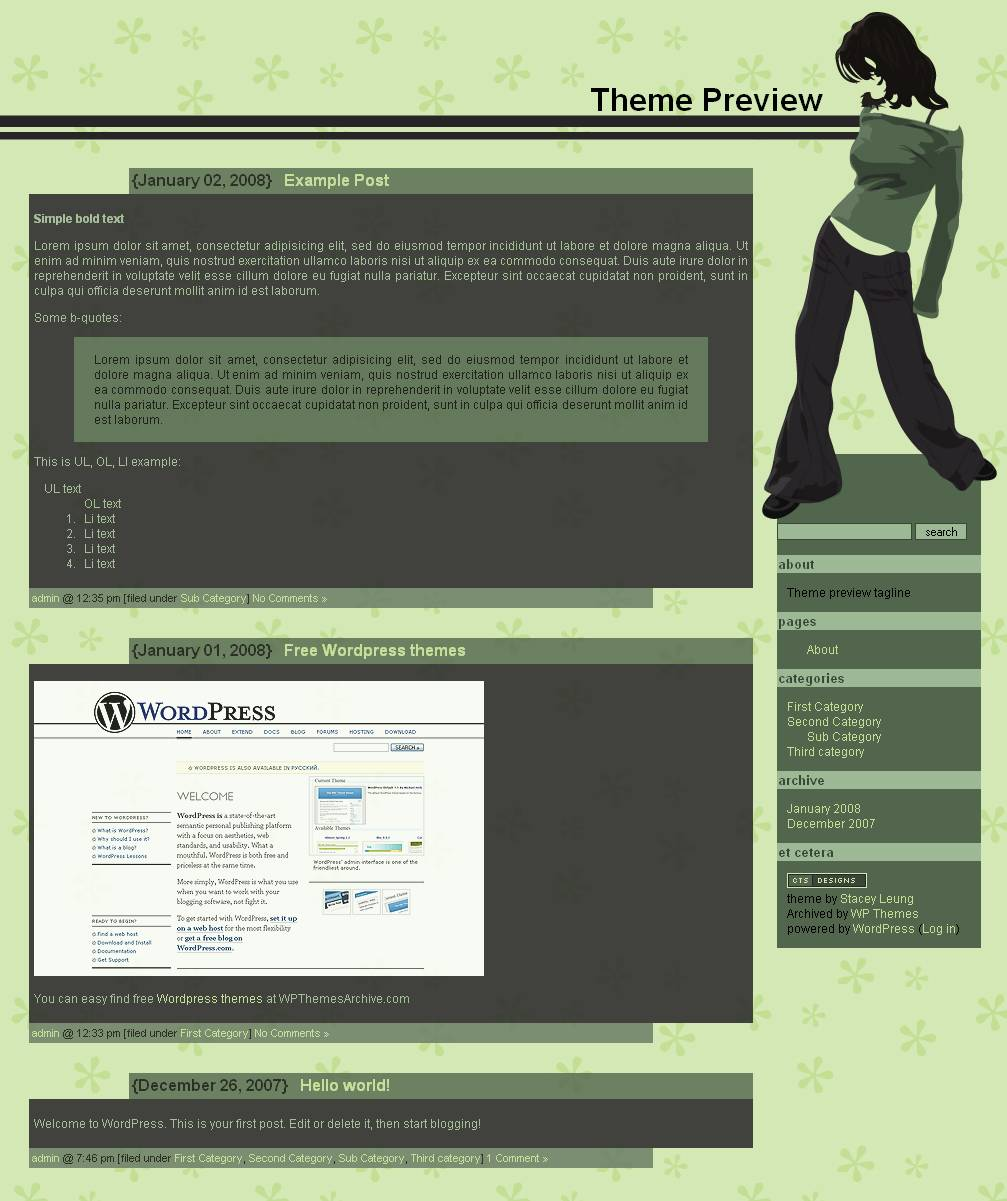 download Girl in Green theme