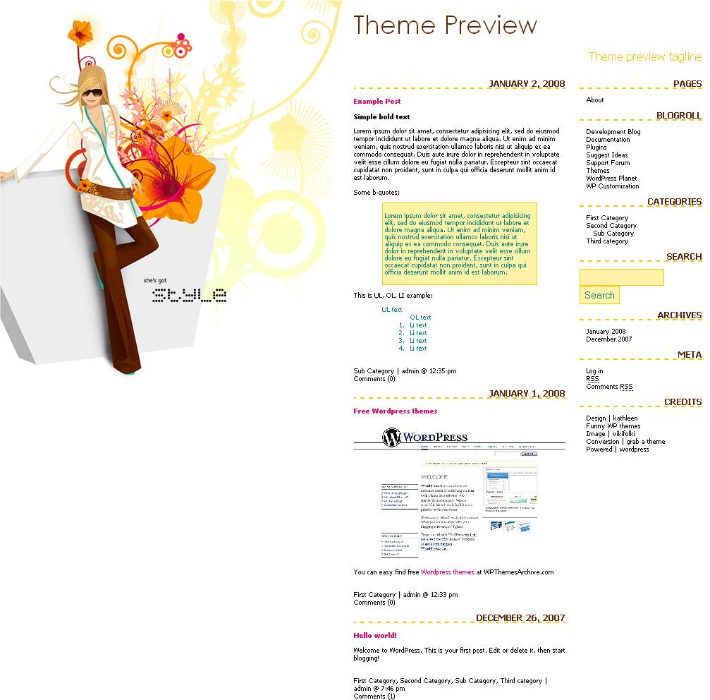 download She's Got Style theme