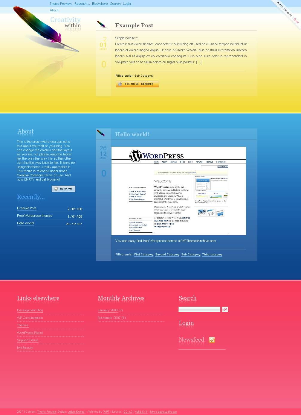 download 08 Rainbow Feather theme